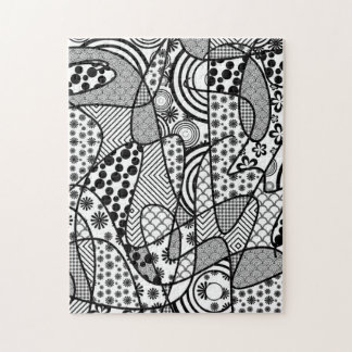Black & White Pattern Patchwork 02 Jigsaw Puzzle