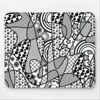 Black & White Pattern Patchwork 02 Mouse Pad