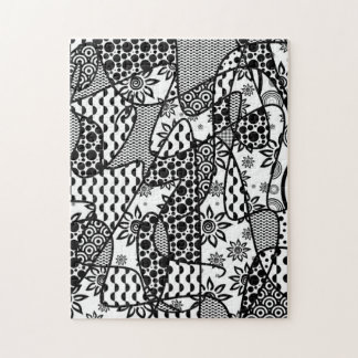Black & White Pattern Patchwork 03 Jigsaw Puzzle