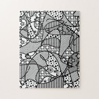 Black & White Pattern Patchwork 04 Jigsaw Puzzle