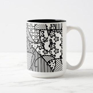 Black & White Pattern Patchwork 04 Two-Tone Coffee Mug