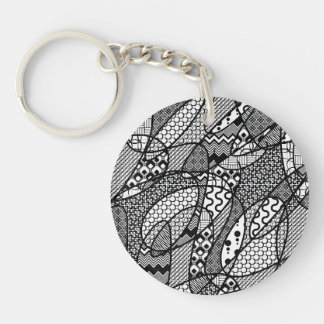 Black & White Pattern Patchwork 05 Keychain