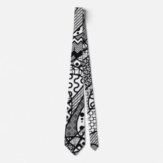 Black & White Pattern Patchwork 05 Neck Tie