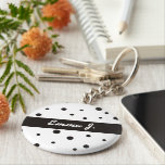 "Black &amp; White Pattern Personalized Name Keychains<br><div class=""desc"">Black &amp; white pattern keychain-personalized with your name.Matching products (pinback buttons,  luggage tags,  cases,  etc) available in my shop:) Thanks!:)</div>"