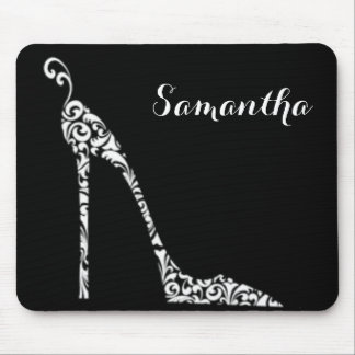 Black White Pattern Print High Heel Mouse Pad