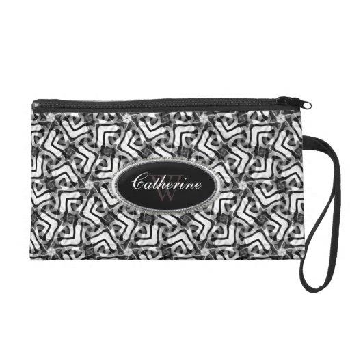 Black White Pattern : Tribal Fusion Wristlet Bag