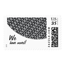 "Black-&-White Pattern ""We've Moved"" Announcements Postage"