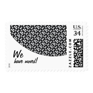 """Black-&-White Pattern """"We've Moved"""" Announcements Postage"""
