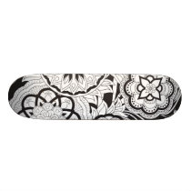 black&white pattern with sends them skateboard deck