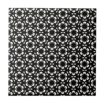Black & White Patterns | Hexagons II Ceramic Tile