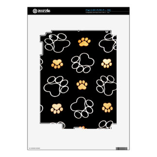 Black White Paw Print Heart Decals For iPad 2