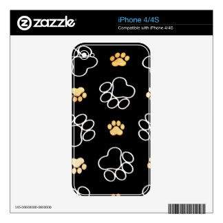 Black White Paw Print Heart iPhone 4S Skins