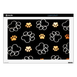 "Black White Paw Print Heart Skin For 17"" Laptop"