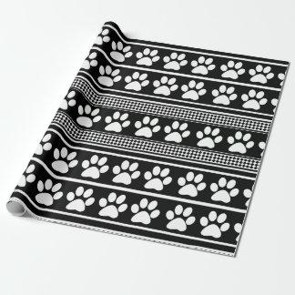 Black white paw print pattern wrapping paper