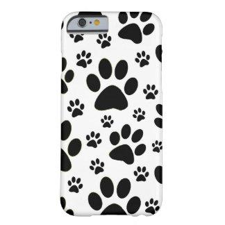 Black white paw prints, pet, animal iPhone 6 case