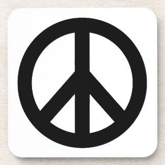 Black White Peace Sign Symbol Beverage Coaster