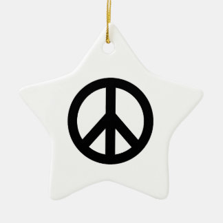 Black White Peace Sign Symbol Ceramic Ornament