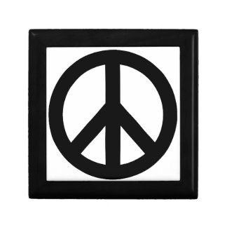 Black White Peace Sign Symbol Jewelry Box