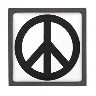 Black White Peace Sign Symbol Keepsake Box