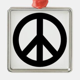 Black White Peace Sign Symbol Metal Ornament