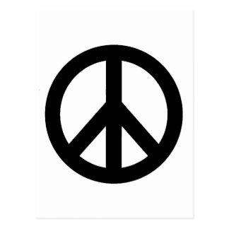 Black White Peace Sign Symbol Postcard