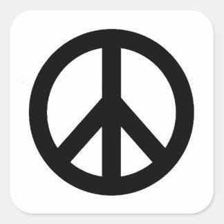 Black White Peace Sign Symbol Square Sticker