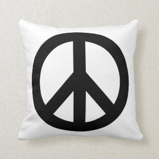 Black White Peace Sign Symbol Throw Pillow