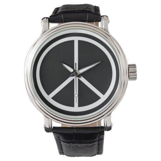 Black & White Peace Sign Wristwatch