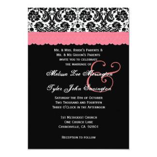 Black White Peach Lace Flower Damask Wedding V20 5x7 Paper Invitation Card