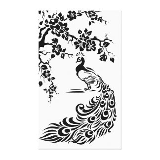 Black white peacock and cherry blossoms custom stretched canvas prints