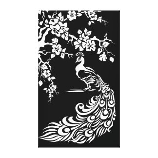 Black white peacock and cherry blossoms custom gallery wrap canvas