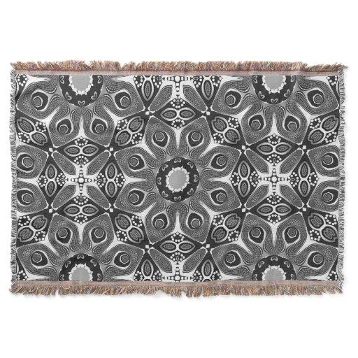 Black White Peacock Circle Woven Throw Blanket