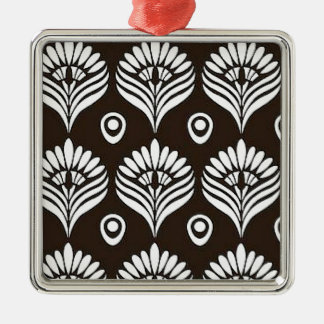 Black & White Peacock Design Illustration Metal Ornament