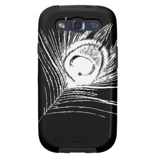 Black & White Peacock Feather Galaxy SIII Case