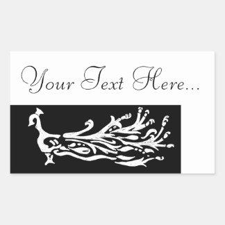 Black & White Peacock put your own text Rectangular Sticker