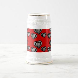 Black & White Pearl Hearts On Red Beer Stein