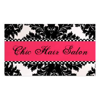 Black & White Pearl PINK Damask Business Card