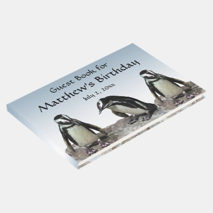 Black White Penguin Bird Birthday Party Guest Book