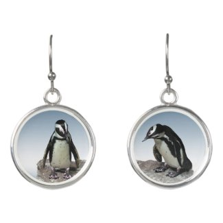 Black White Penguin Birds Drop Earrings