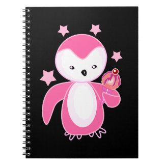Black & White Penguin with Ice Cream Black BG Spiral Notebook