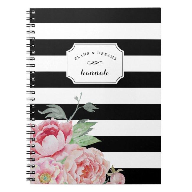 Black & White Peony Floral Stripe Notebook