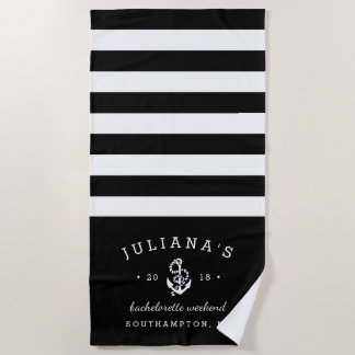 Black & White Personalized Bachelorette Weekend Beach Towel