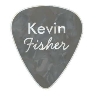black/white personalized guitarist name&initial pearl celluloid guitar pick