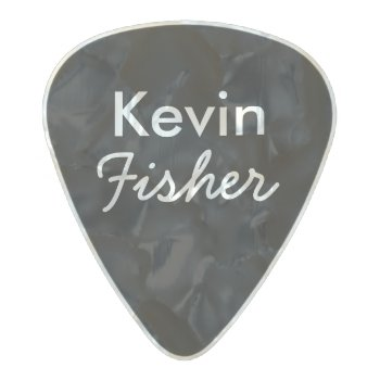 Black/white Personalized Guitarist Name&initial Pearl Celluloid Guitar Pick by mixedworld at Zazzle