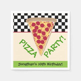Black & White Personalized Pizza Party Napkin