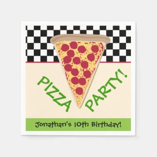 Black & White Personalized Pizza Party Napkin