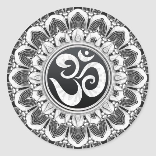 Black White Petals Aum Mandala Art Round Sticker