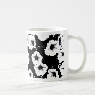 black & white petunias mug