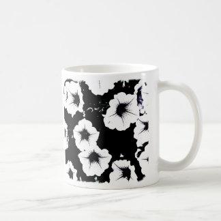 black & white petunias mug