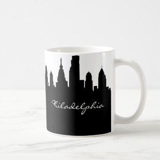 Black & White Philadelphia City Skyline Coffee Mug